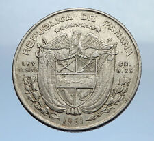 1961 PANAMA OLD Vintage Silver Spanish CONQUISTADOR Quarter w BALBOA Coin i69897