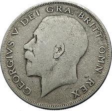 1920 Great Britain United Kingdom UK King GEORGE V Silver Half Crown Coin i69745