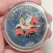 1995 TURKS & CAICOS Huge 6.3cm Proof Silver 25 Crowns Coin Woodstar Bird i70694