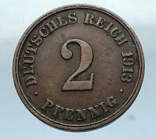 1913 J GERMANY 2 Pfennig Antique German Empire Coin of King WILHELM II i66825