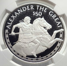 1988 COOK ISLANDS Proof Silver $50 Coin ALEXANDER III the GREAT Horse NGC i72151