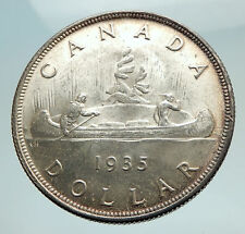 1935 CANADA under UK King GEORGE V Voyagers Genuine Silver Dollar Coin i74507