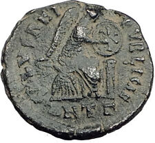 EUDOXIA Arcadius Wife 401AD Authentic Ancient Roman Coin VICTORY CHI-RHO i64770