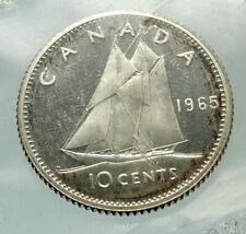 1965 CANADA Queen ELIZABETH II Silver 10 Cent SILVER Coin - BLUENOSE SHIP i76496