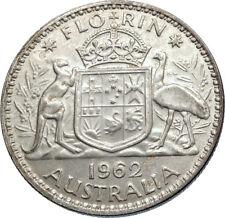 1962 AUSTRALIA - UK Queen Elizabeth II SILVER FLORIN Coat-of-Arms Coin i71948