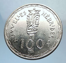 1966 New Hebrides Colony of France 100 Francs Silver BISJ Totem Pole Coin i71940