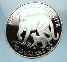 1991 COOK ISLANDS Proof Silver 50 Dollars COUGAR ENDANGERED SPECIES Coin i68534