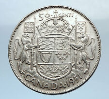 1951 CANADA - Large SILVER 50 Cents Coin - UK King GEORGE VI Coat-of-Arms i71923
