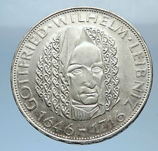 1966 GERMANY Vintage Authentic Silver Wilhelm Leibniz German Coin i71854