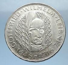 1966 GERMANY Vintage Authentic Silver Wilhelm Leibniz German Coin i71854