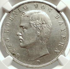 1909 GERMANY German State King of Bavaria OTTO I Silver 3 Mark Coin NGC i68303