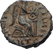 EUDOXIA Arcadius Wife 401AD Authentic Ancient Roman Coin VICTORY CHI-RHO i67297