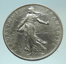 1914 FRANCE Antique Silver 2 Francs French Coin w La Semeuse Sower Woman i76806