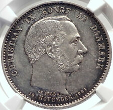 1888 DENMARK King Christian IX 25th Anniversary Silver 2 Kroner Coin NGC i70017