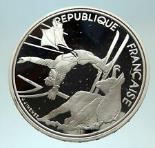 1990 FRANCE Free style Skiing 1992 Olympics Proof Silver 100 Francs Coin i76880