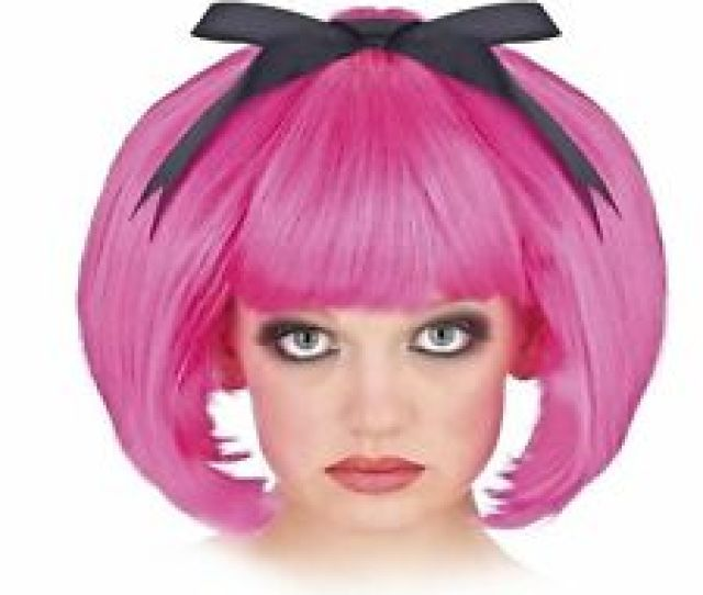 Adult Womens Short Hair Anime Cosplay Halloween Costume Hot Pink Bob Wig Bow