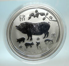 2019 AUSTRALIA Elizabeth II Chinese Zodiac Pig Year Genuine Silver Coin i76590