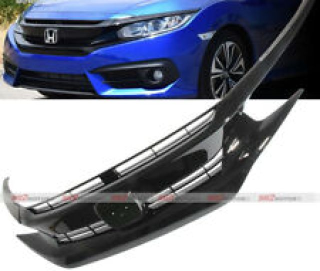 Black Front Hood Grill Grille Eyelid For 2016 2018 Honda Civic Coupe Sedan