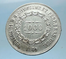 1860 BRAZIL Silver 1000 Reis Antique Brazilian Coin w Coat-Of-Arms i68577