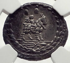 Roman Republic 85BC Ancient Silver Coin VEJOVIS Genius Zeus Mom Goat NGC i71031