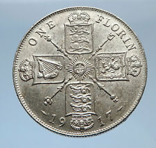 1917 United Kingdom Great Britain GEORGE V Silver Florin 2 Shillings Coin i69404
