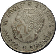 1966 Sweden GUSTAF VI Silver Krona Crowned ARMS Antique Vintage Coin i71965