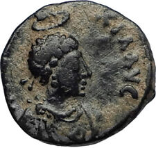 EUDOXIA Arcadius Wife 401AD Authentic Ancient Roman Coin VICTORY CHI-RHO i67256