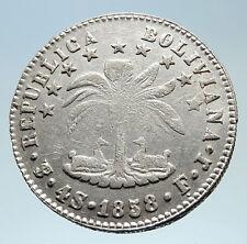 1858 PTS FJ Bolivia LARGE SIMON BOLIVAR Genuine 4 Sol Silver Coin i75347