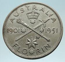 1951 AUSTRALIA King George VI 50th Anniv LARGE Genuine Silver Florin Coin i76207
