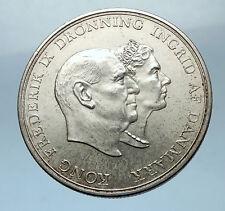 1960 DENMARK King Frederick IX & Queen Ingrid Silver WEDDING ANNIVER Coin i68530