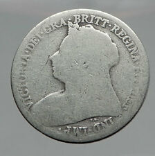 1899 UK Great Britain United Kingdom QUEEN VICTORIA Shilling Silver Coin i62906