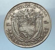1962 PANAMA Big 3cm Silver Spanish CONQUISTADOR Half BALBOA Coin i68254