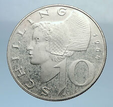 1964 Austria Wachau Woman 10 Schilling Silver Austrian Coin with Shield i71974
