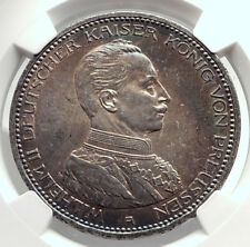 1913 PRUSSIA KINGDOM Germany WILHELM II Silver 5 Mark German Coin NGC MS i73479
