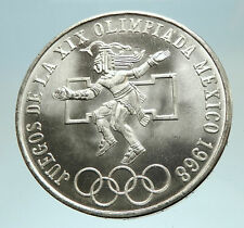 1968 Mexico XIX Olympic Games Aztec Ball Player BIG 25 Pesos Silver Coin i76817