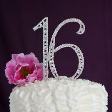 Silver Wedding Cake Toppers for sale   eBay Crystal Rhinestone Silver 16 Sixteen Birthday Number Cake Topper Sweet  Decor US