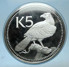 1977 PAPUA NEW GUINEA Proof Silver 5 Kina Coin w PAPUAN Harpy EAGLE i68566