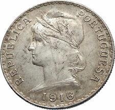 1916 PORTUGAL with Liberty Antique BIG Genuine Silver PORTUGUESE Coin i75407