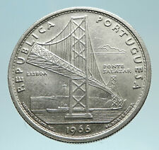 1966 PORTUGAL w Opening of SALAZAR BRIDGE Genuine Silver 20 Escudos Coin i76200