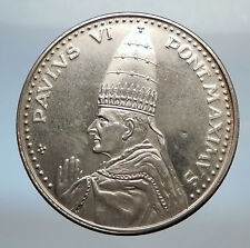 1975 VATICAN City Silver CHRISTIAN Medal of POPE PAUL VI  w  SAINTS DOOR i71319