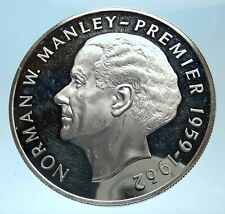1974 JAMAICA Proof HUGE 4.5cm Premier Norman W Manley Silver $5 Coin i77492