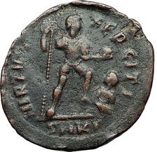 THEODOSIUS I the Great Labarum Captive 383AD Authentic Ancient Roman Coin i69988