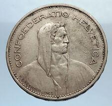 1932 Switzerland Founding HERO WILLIAM TELL 5 Francs Silver Swiss Coin i71611