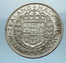 1946 NEW ZEALAND under UK King George VI Silver 1/2 Crown Coin Shield i68328