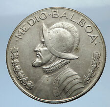 1966 PANAMA Big 3cm Vintage Silver Spanish CONQUISTADOR Half BALBOA Coin i69473