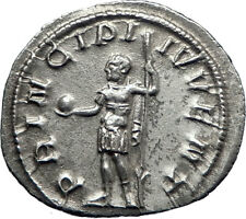 PHILIP II Roman Caesar with globe 244AD Silver Rare Ancient Roman Coin i70116