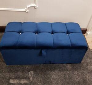 blue storage ottomans