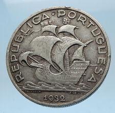 1932PORTUGAL 0.33oz Silver 10 Escudos Coin w PORTUGUESE SAILING SHIP i68564