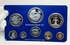 1975 BARBADOS Neptune Windmill Fountain 8 Proof Coin Set 2 are Silver i76391