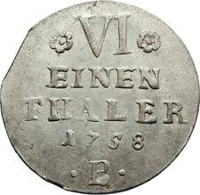 1758 GERMANy German States Anhalt-Bernburg Antique Silver 1/6 Thaler Coin i71733